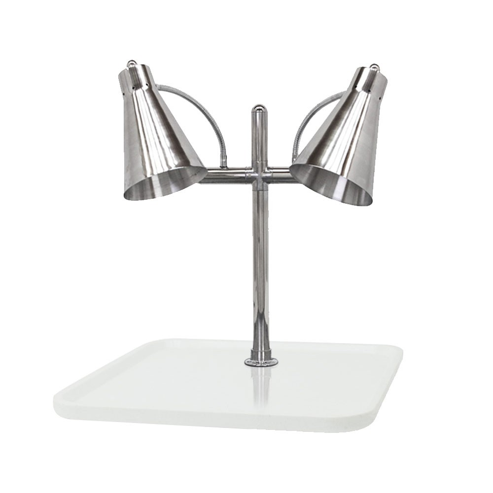 "Buffet Enhancements 010HFD-WG24SQ 24"" Carving Station with Square White Granite Base, Two Flex Lamps"