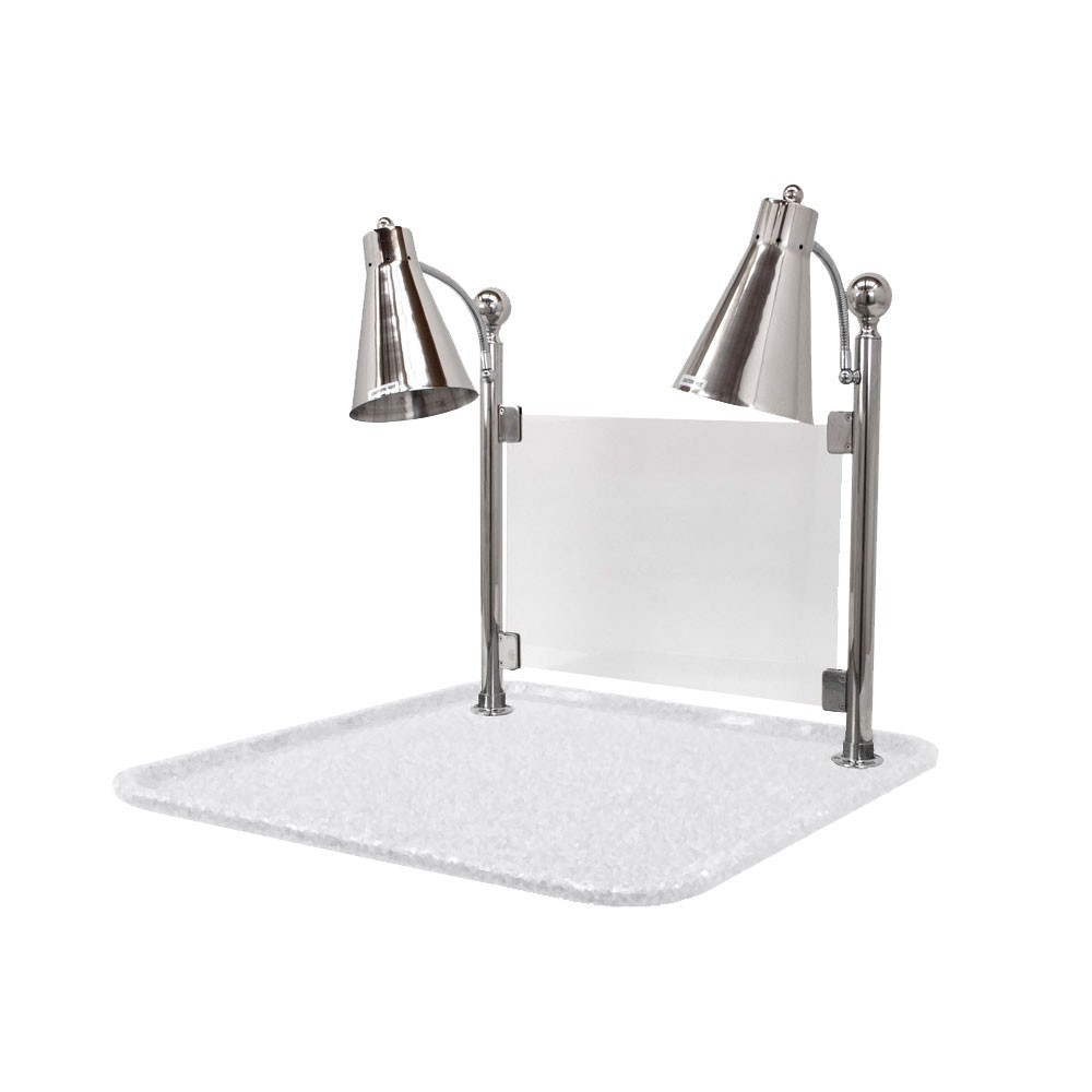 "Buffet Enhancements 010HFD-WG24SQSG 24"" Carving Station with Square White Granite Base, Two Flex Lamps, Sneeze Guard"