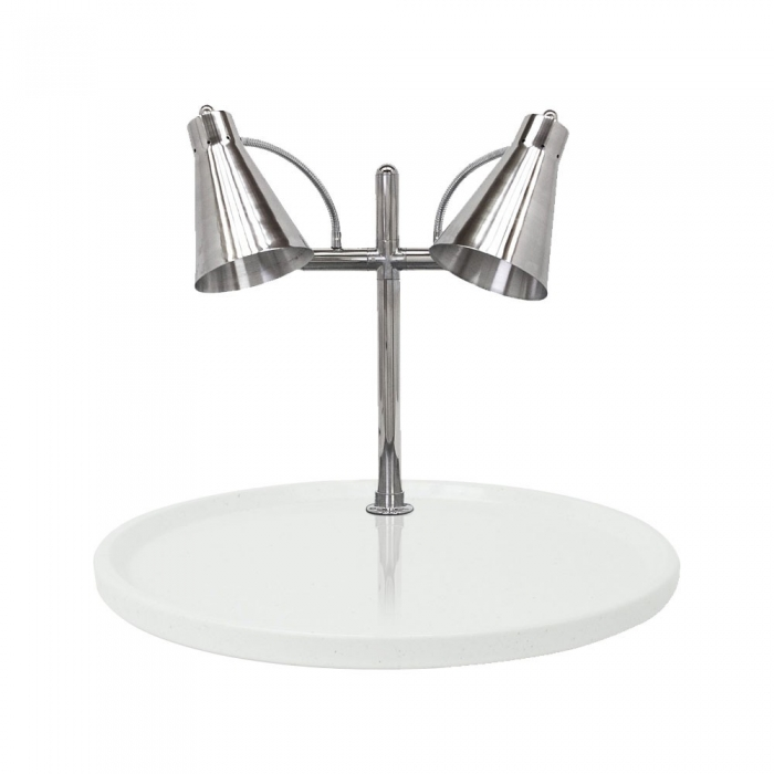 "Buffet Enhancements 010HFD-WG30RD 30"" Carving Station with Round White Granite Base, Two Flex Lamps"