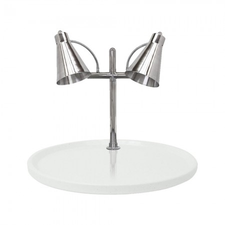 """Buffet Enhancements 010HFD-WG30RD Carving Station with Round White Granite Base and Dual Flex Lamps 30"""""""