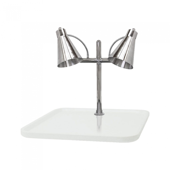"Buffet Enhancements 010HFD-WG30RT 30"" Carving Station with Rectangular White Granite Base, Two Flex Lamps"