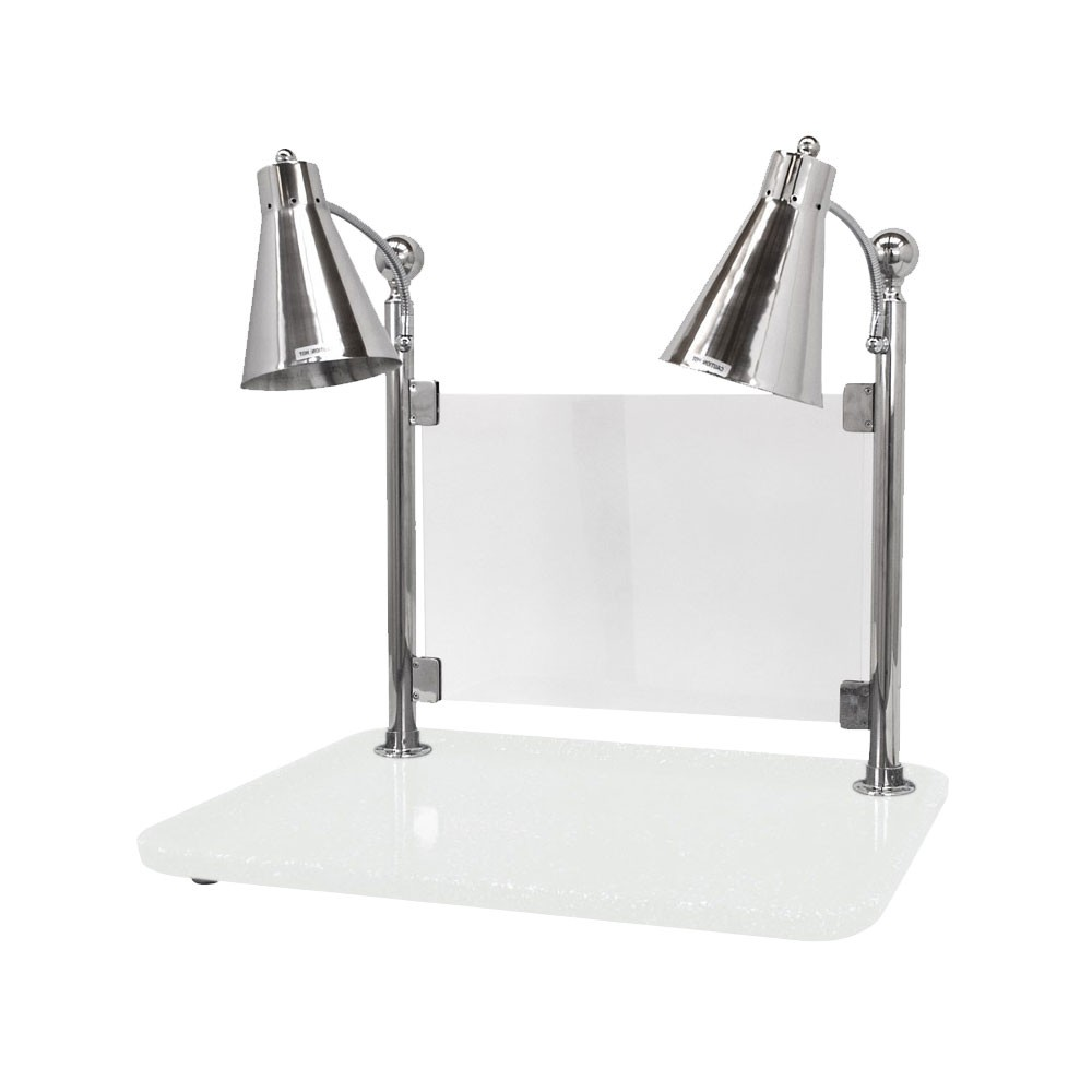 "Buffet Enhancements 010HFD-WG30RTSG 30"" Carving Station with Rectangular White Granite Base, Two Flex Lamps, Sneeze Guard"