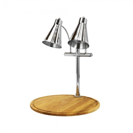 Buffet Enhancements 010HFD-WM24RD Carving Station with Round White Maple Base and Dual Flex Lamps 24""