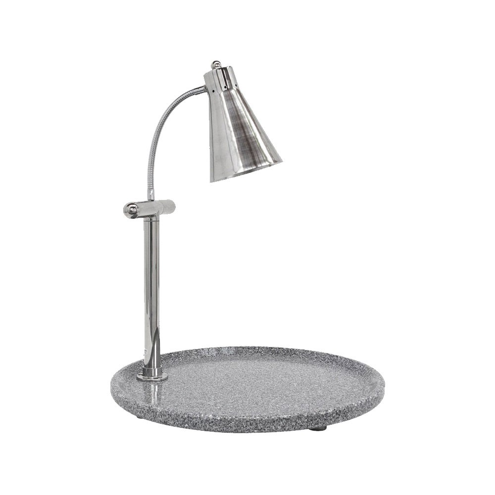"""Buffet Enhancements 010HFS-GG24RD 24"""" Single Flex Lamp Carving Station with Round Gray Granite Base"""