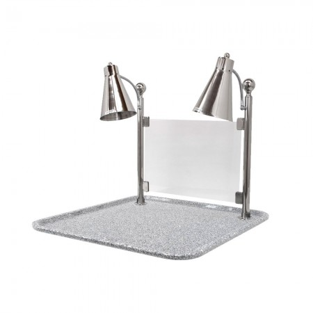 """Buffet Enhancements 010HFS-GG24SQ Carving Station with Square Grey Granite Base and Single Flex Lamp 24"""""""