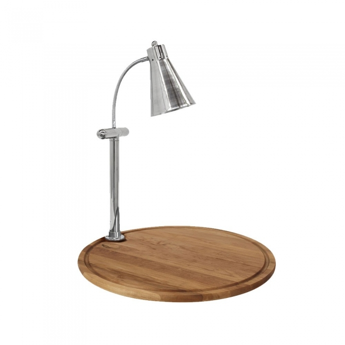 """Buffet Enhancements 010HFS-WB24RD 24"""" Single Flex Lamp Carving Station with Round Bamboo Wood Base"""