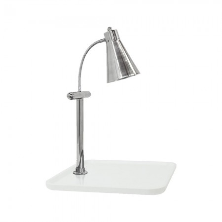 """Buffet Enhancements 010HFS-WG24SQ Carving Station with Square White Granite Base and Single Flex Lamp 24"""""""