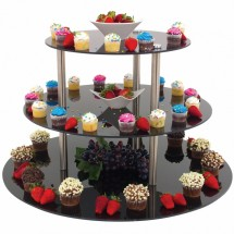 "Buffet Enhancements 010RR30 30"" 3 Tier Food Riser, Black"