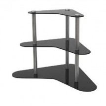 "Buffet Enhancements 010RW24 24"" Winged 3 Tier Food Riser - Black"