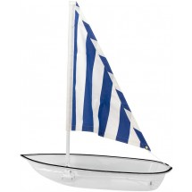 Buffet Enhancements 010SBOAT-CLBS Iced Seafood Clear Sailboat Food Display with Blue Striped Sail