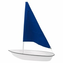 Buffet Enhancements 010SBOAT-CLBL Iced Seafood Sailboat Food Display Clear with Blue Sail