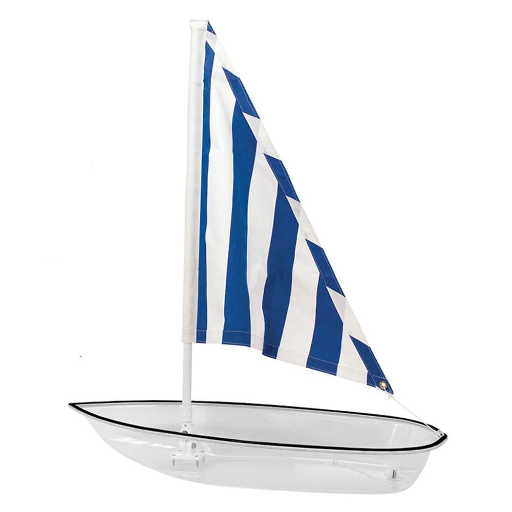 Buffet Enhancements 010SBOAT Iced Seafood Sailboat Food Display White with Blue Striped Sail