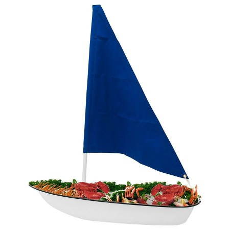 Buffet Enhancements 010SBOAT-WTBL Iced Seafood Sailboat Food Display White with Blue Sail