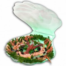 Buffet Enhancements 010SSHELL-WT Frosted White Jumbo Seafood Shell Ice Display