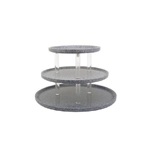 "Buffet Enhancements 1BAG211GG 24"" Chefstone™ Triple Tier Food Display Riser, Grey Granite"