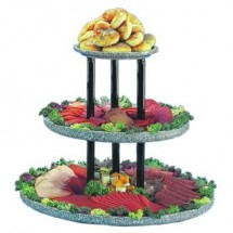 "Buffet Enhancements 1BAG211 24"" Chefstone™ Triple Tier Food Display Riser, White Granite"