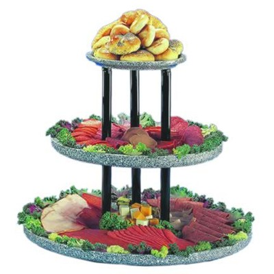 "Buffet Enhancements 1BAG211WG 24"" Chefstone™ Triple Tier Food Display Riser, White Granite"