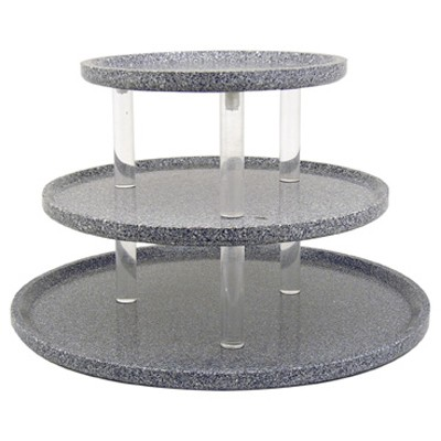 "Buffet Enhancements 1BAG321GG 30"" Chefstone™ Triple Tier Serving Tray Riser, Grey Granite"