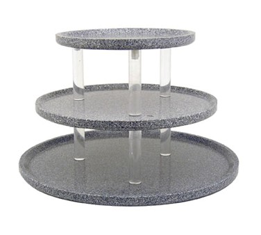 "Buffet Enhancements 1BAG321WG 30"" Chefstone™ Triple Tier Serving Tray Riser, White Granite"