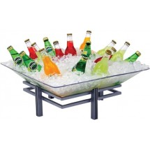 Buffet Enhancements 1BLRE22SET Iron Enhancements™ Square Iron Ice Display with Acrylic Tray