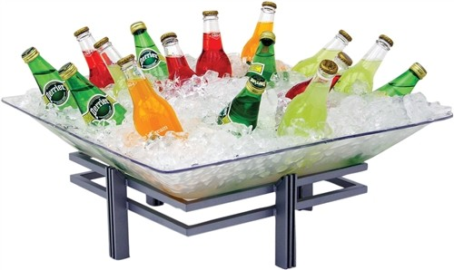 Buffet Enhancements 1BLRE22SET Square Iron Ice Display with Acrylic Tray