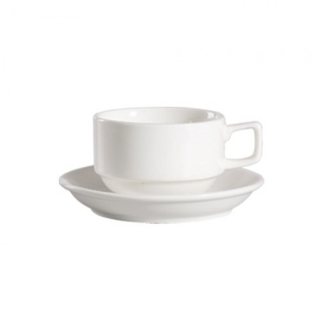 CAC China 101-1-S Lincoln Porcelain Stacking Cup 8 oz.  - 3 doz