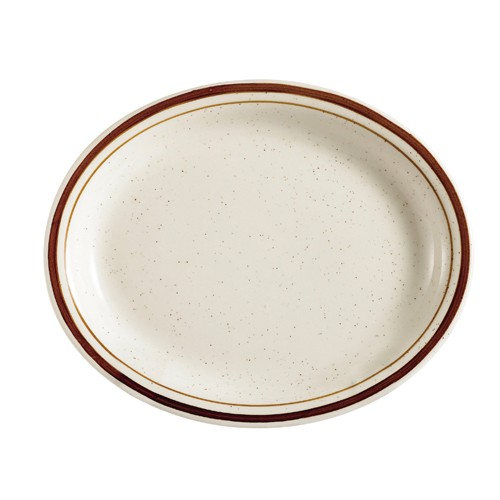 "CAC China AZ-12 Arizona Brown Rim Speckled Oval Platter 10-3/8"" x 7-1/8""  - 2 doz"