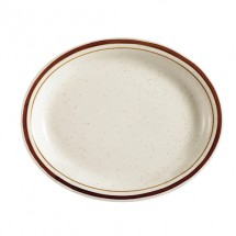 "CAC China AZ-14 Arizona Brown Rim Speckled Oval Platter 12-1/2"" x 8-5/8""- 1 doz"