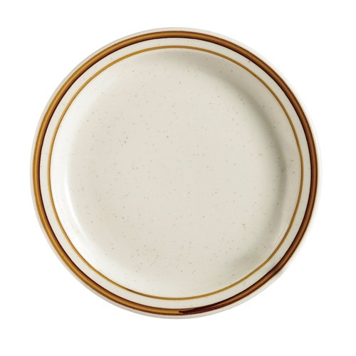 "CAC China AZ-7 Arizona Brown Rim Speckled Plate 7-1/8""  - 3 doz"