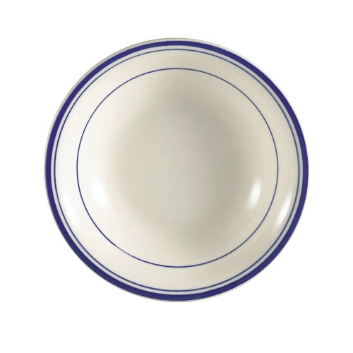 CAC China BLU-11 Blue Line Rolled Edge Fruit Dish 5 oz. - 3 doz