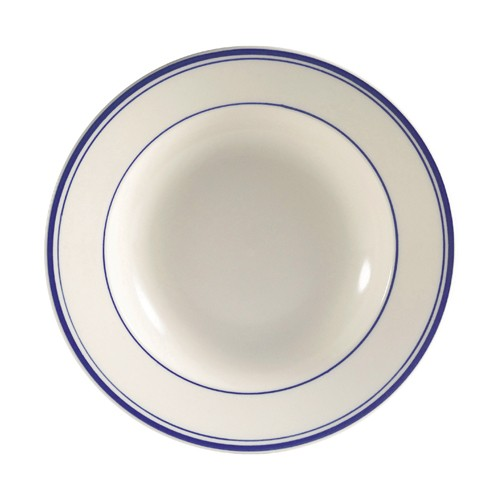 CAC China BLU-125 Blue Line Rolled Edge Pasta Bowl 30 oz. - 1 doz