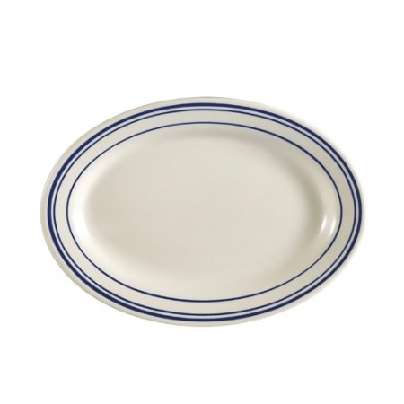 "CAC China BLU-41 Blue Line Rolled Edge Oval Platter 13-1/2"" x 9-1/4""  - 1 doz"