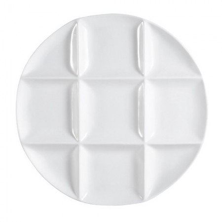"""CAC China CMP-R12 9 Compartment Round Porcelain Tray 12""""  - 1 doz"""