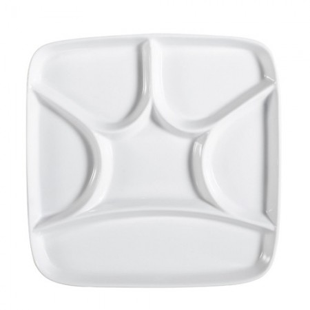 """CAC China CMP-SQ8 Square Crown Porcelain Compartment Tray 8-1/2""""- 2 doz"""