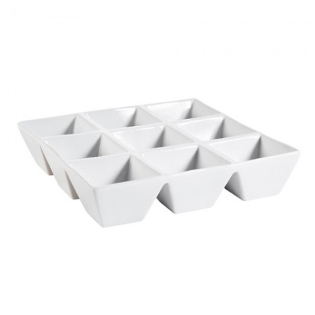 "CAC China CMP-SQ9 9-Compartment Square Porcelain Tray 9""  - 1 doz"