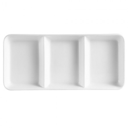 "CAC China CN-3T13 3-Compartment Porcelain Tray 12-1/2"" x 5-1/2"" x 1-1/8"" - 1 doz"