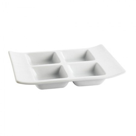 "CAC China CN-4T8 4-Compartment Porcelain Tray 8"" x 6"" x 1-1/8"" - 2 doz"