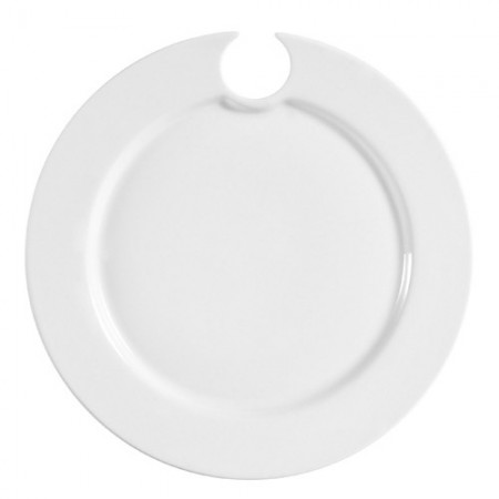 """CAC China COL-P8 Round Party Plate With Stemware Hole 9"""" - 2 doz"""