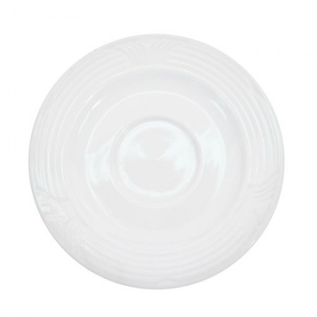 """CAC China CRO-36 Corona Porcelain Embossed Saucer for A.D. Cup 4"""" - 3 doz"""