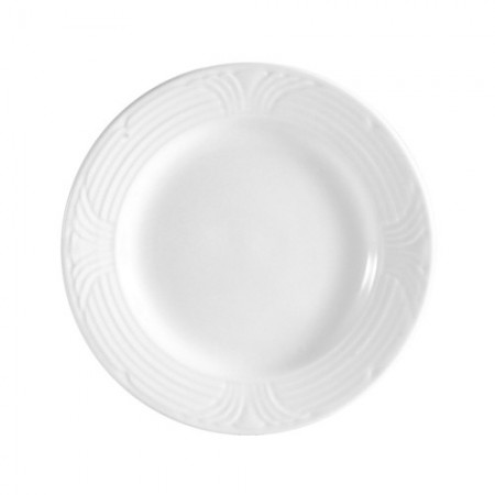 "CAC China CRO-6 Corona Porcelain Embossed Plate 6-1/2"" - 3 doz"