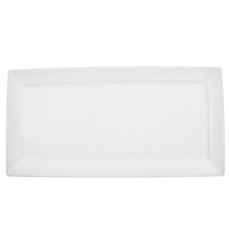 "CAC China F-RP10 Paris French Rectangular Platter 10"" x 5"" - 2 doz"