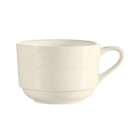 CAC China GAD-1-S Garden State Porcelain Embossed Stacking Cup 7.5 oz.- 3 doz