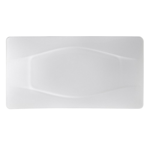 "CAC China MDN-14 Modern White Porcelain Rectangle Platter 13-1/2"" x 7"" - 1 doz"
