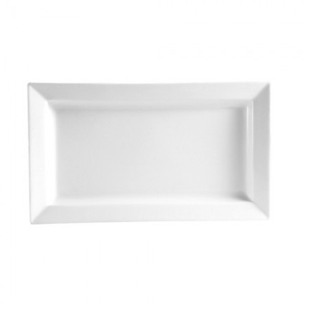 "CAC China PNS-12 Princesquare Porcelain Deep Rectangular Platter 10"" x 5-1/2""  - 2 doz"