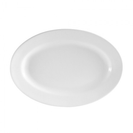 """CAC China RCN-14 Clinton Rolled Edge Porcelain Oval Platter 13"""" x 7-5/8"""" - 1 doz"""