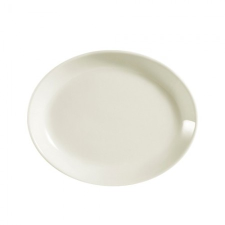 """CAC China REC-34C Rolled Edge Oval Coupe Platter 9-1/2"""" x 7-1/4"""" - 2 doz"""
