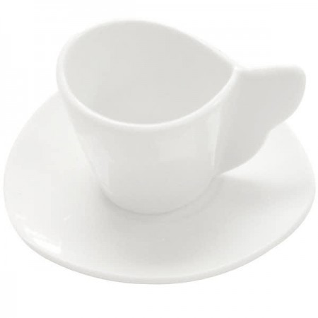 CAC China SOH-36 Soho American White Stoneware Triangular Saucer for A.D. Cup - 3 doz