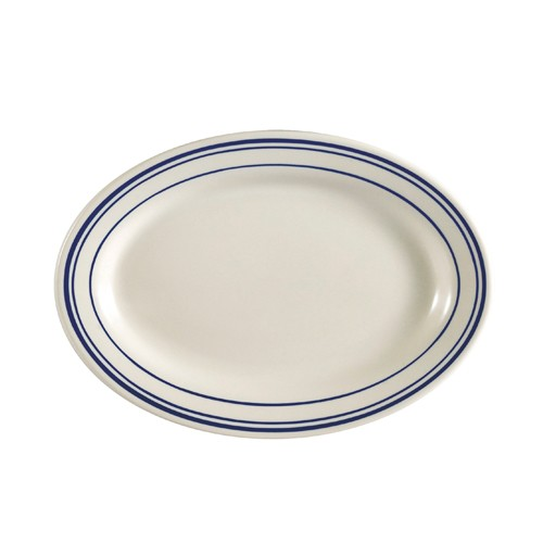 "CAC China BLU-34 Blue Line Rolled Edge Oval Platter 9-3/8"" x 6-1/4"" - 2 doz"