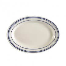 "CAC China BLU-51 Blue Line Rolled Edge Oval Platter 15-1/2"" x 10"" - 1 doz"