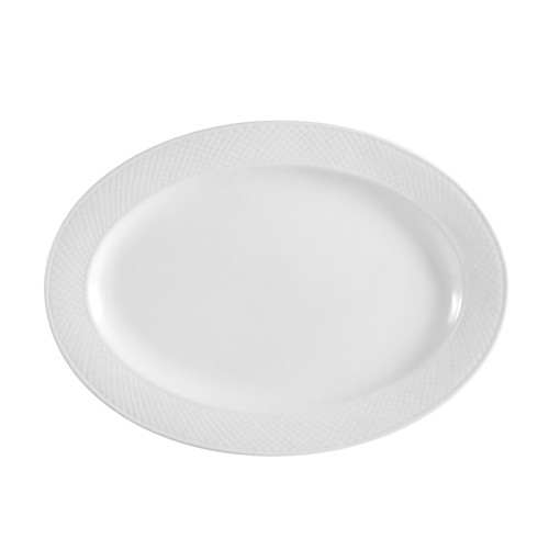 "CAC China BST-14 Boston Porcelain Embossed Platter 12-1/2"" x 8-3/4"" - 1 doz"
